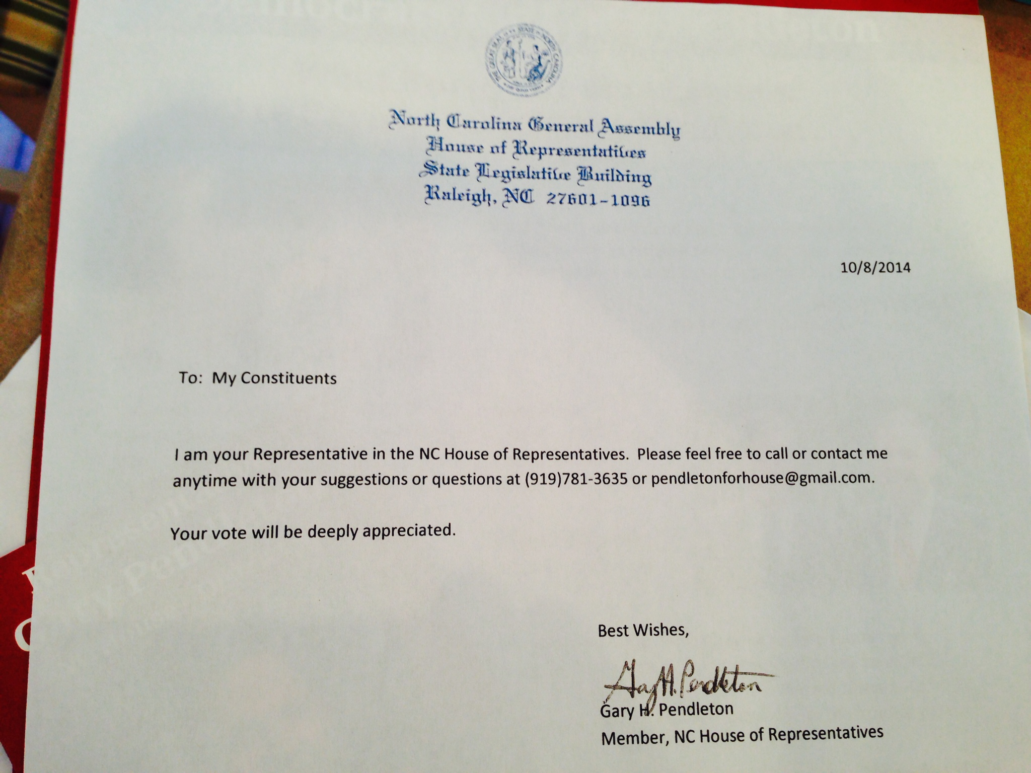 signs of gary pendleton s arrogance gregflynn the letter was sent in an envelope bearing a return address clearly stating in a formal font that it was from rep gary pendleton north carolina general